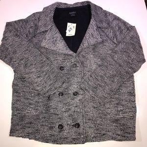 NWT Lucky Brand Black White Knit Blazer Size XL
